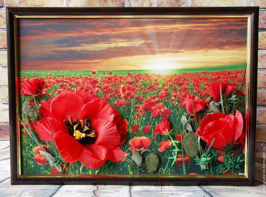 Картины цветов ручной работы. Ярмарка Мастеров - ручная работа. Купить Объемные пано Цветочные пейзажи. Handmade. Цветы