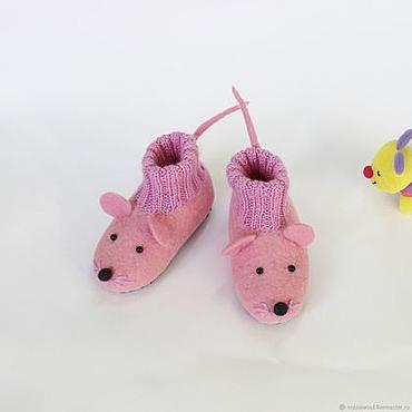 Footwear handmade. Livemaster - original item felted slipper  socks for children mouse pink. Handmade.