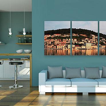 Картины и панно ручной работы. Ярмарка Мастеров - ручная работа Картина на холсте Греческий город. Handmade.