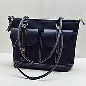 """Сумки и аксессуары ручной работы. Ярмарка Мастеров - ручная работа Кожаная сумка шоппер """"Шторм"""". Темно-синий, большая сумка. Handmade."""