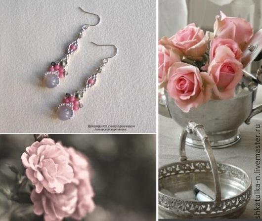 """Серьги ручной работы. Ярмарка Мастеров - ручная работа. Купить """"Розовая дымка"""" серьги с серым агатом и розовым кораллом. Handmade."""