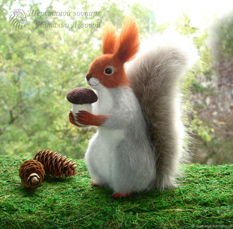 Winter squirrel – toy interior / protein felted wool /felt, Felted Toy, Sochi,  Фото №1