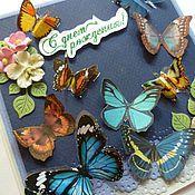 """Открытки ручной работы. Ярмарка Мастеров - ручная работа Открытка """" Полет бабочек"""". Handmade."""