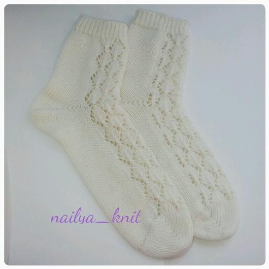 Носки, Чулки ручной работы. Ярмарка Мастеров - ручная работа. Купить Носки женские ажурные белые. Handmade. Носки