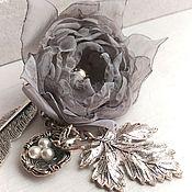Канцелярские товары handmade. Livemaster - original item Bookmark with grey fabric flower. swallow`s nest.. Handmade.