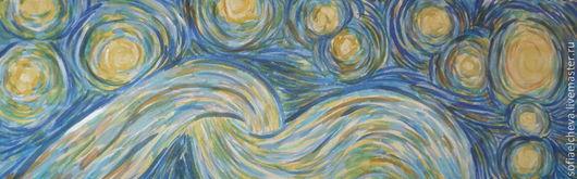 """Шарфы и шарфики ручной работы. Ярмарка Мастеров - ручная работа. Купить Шарф шелковый """"Звезды Ван Гога"""". Handmade. Синий"""