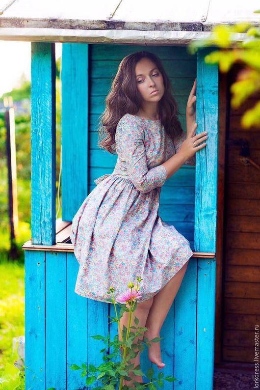 Платья ручной работы. Ярмарка Мастеров - ручная работа. Купить Платье Meadow. Handmade. Голубой, в цветочек, серый розовый, бохо