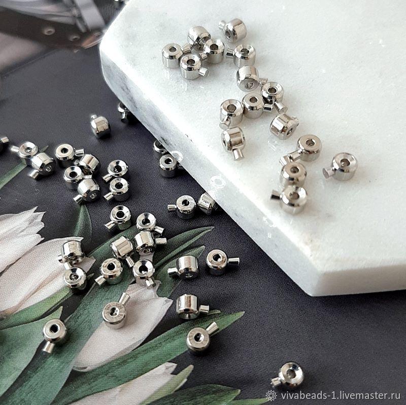 1 PCs. Crimp with lock 3 mm color platinum (4088), Accessories for jewelry, Voronezh,  Фото №1