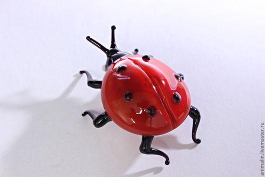 Обереги, талисманы, амулеты ручной работы. Ярмарка Мастеров - ручная работа. Купить Стеклянная  фигурка божья коровка Ladybird. Handmade.