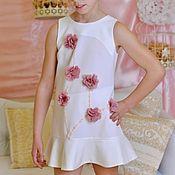 Работы для детей, handmade. Livemaster - original item White wedding dress with pink chiffon flowers. Handmade.