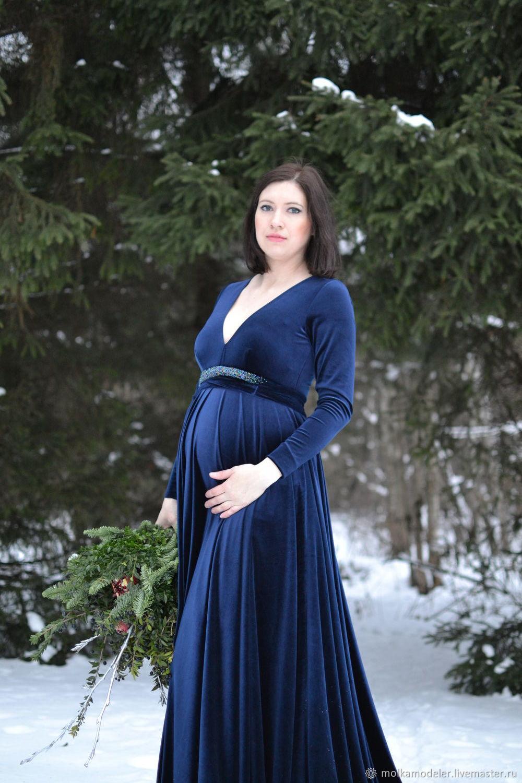 546fbad0efe7 Скидка. Платья ручной работы. Ярмарка Мастеров - ручная работа. Купить  Бархатное платье для беременных с ...