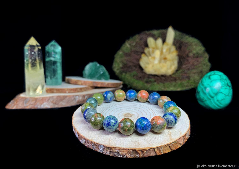 Bracelet made of natural Jasper Unakite and Azurmalachite, Bead bracelet, Moscow,  Фото №1