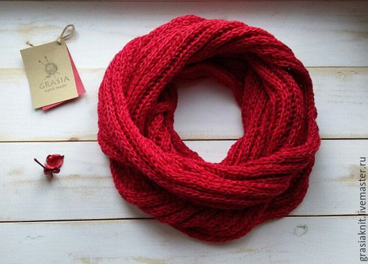 Шарфы и шарфики ручной работы. Ярмарка Мастеров - ручная работа. Купить вязаный шарф из хлопка. Handmade. Ярко-красный
