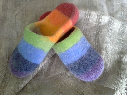 """Обувь ручной работы. Ярмарка Мастеров - ручная работа. Купить """"Погода в доме"""" Валяные шлепки готовая работа. Handmade. Шерсть"""