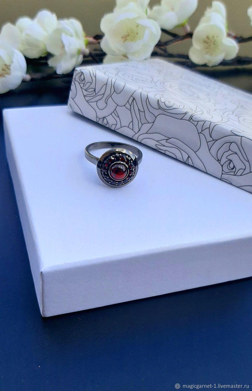 Шикарное кольцо с чешскими гранатами, Турнов, Кольца, Прага,  Фото №1