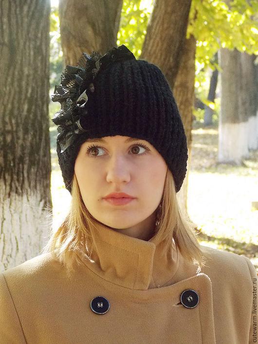 Шапки ручной работы. Ярмарка Мастеров - ручная работа. Купить Вязаная шапка, Зимняя шапка, Женская шапка, Черная женская шапка. Handmade.