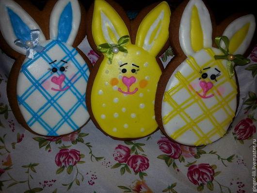 Кулинарные сувениры ручной работы. Ярмарка Мастеров - ручная работа. Купить Пряничные пасхальные кролики.. Handmade. Разноцветный, пряник расписной