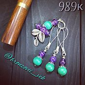 Материалы для творчества handmade. Livemaster - original item Markers for knitting with malachite and amethyst №989. Handmade.