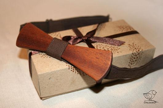 Галстуки, бабочки ручной работы. Ярмарка Мастеров - ручная работа. Купить галстук-бабочка деревянная с золотистым оттенком. Handmade. Коричневый