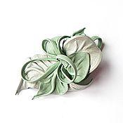 Украшения handmade. Livemaster - original item Brooch flower leather aquamarine icy light mint. Handmade.