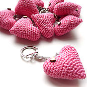 Сумки и аксессуары handmade. Livemaster - original item Keychain 4 cm Knitted heart pink. Handmade.