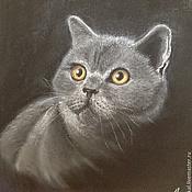Картины и панно ручной работы. Ярмарка Мастеров - ручная работа Картина британская короткошерстная кошка. Пастель.. Handmade.