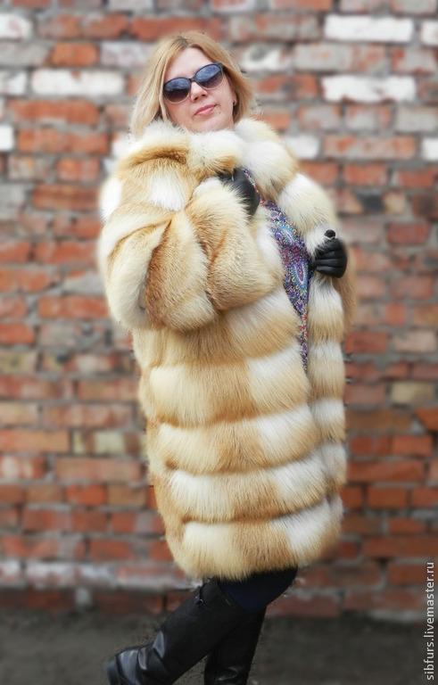 Верхняя одежда ручной работы. Ярмарка Мастеров - ручная работа. Купить Шуба из меха лисы, поперечная.Без воротника.. Handmade.