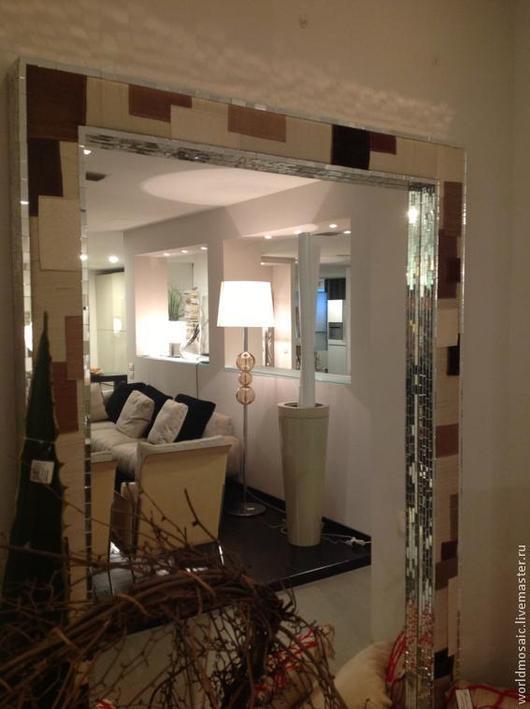 Зеркала ручной работы. Ярмарка Мастеров - ручная работа. Купить Зеркало в мозаичной раме, комбинированное  тканью. Handmade. Зеркало