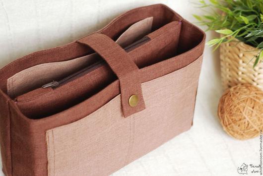 Органайзеры для сумок ручной работы. Ярмарка Мастеров - ручная работа. Купить Льняной органайзер для сумки. Handmade. Коричневый, лен, подарок