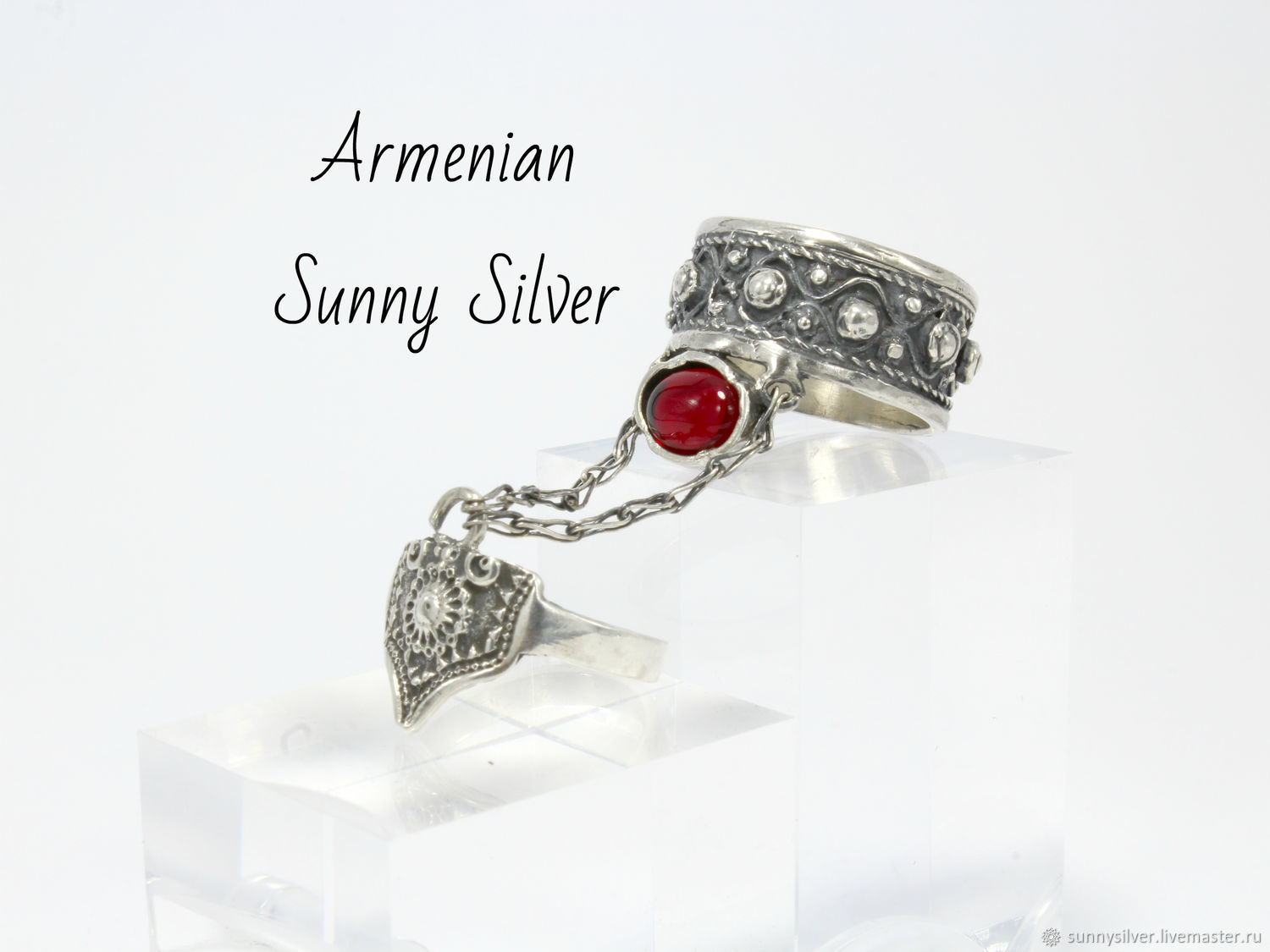 Double ring with a garnet made of 925 silver HH0140 (VIDEO), All finger ring, Yerevan,  Фото №1