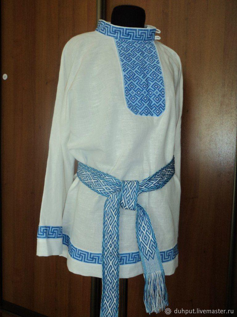 Славянская рубашка с ручной вышивкой + тканый пояс, Народные рубахи, Пермь, Фото №1