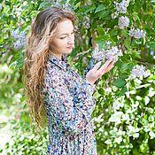 Одежда handmade. Livemaster - original item A new shirtdress with ruffle - flowers. Handmade.