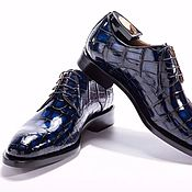 Обувь ручной работы handmade. Livemaster - original item Classic crocodile leather Derby, hand-painted!. Handmade.