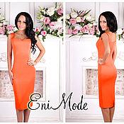 Одежда ручной работы. Ярмарка Мастеров - ручная работа Потрясающее женственное платье-футляр в апельсиновом цвете. Handmade.