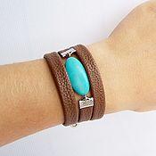 Украшения handmade. Livemaster - original item Bracelet leather Brown blue. Handmade.