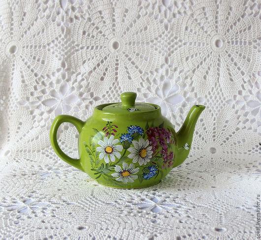 """Чайники, кофейники ручной работы. Ярмарка Мастеров - ручная работа. Купить Керамический заварочный чайник с росписью """" Лето"""". Handmade."""