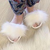 Обувь ручной работы handmade. Livemaster - original item Women`s slippers with fur. Homemade mules.. Handmade.