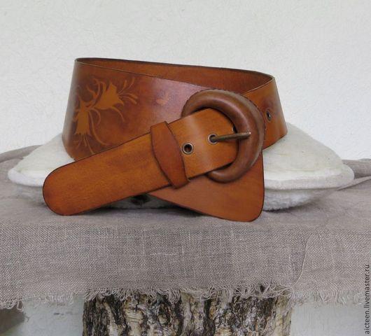 Пояса, ремни ручной работы. Ярмарка Мастеров - ручная работа. Купить Асимметричный женский кожаный пояс с кожаной пряжкой ручной работы кол. Handmade.