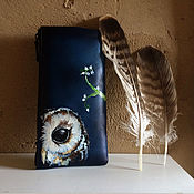 Сумки и аксессуары handmade. Livemaster - original item Owl coin purse, blue leather wallet, hand painted pouch, card holder. Handmade.