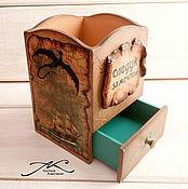 Канцелярские товары handmade. Livemaster - original item Pencil holder wooden decoupage for boy Dragon brown. Handmade.