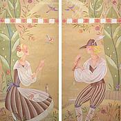 Для дома и интерьера ручной работы. Ярмарка Мастеров - ручная работа Шторы с ручной росписью Птицелов и добрая девушка. Handmade.