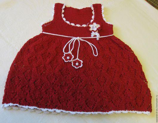 Одежда для девочек, ручной работы. Ярмарка Мастеров - ручная работа. Купить Вязаное платье для девочки  нарядное (сарафан) красное. Handmade.