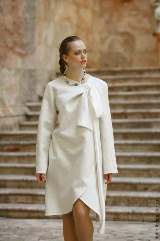 Верхняя одежда ручной работы. Ярмарка Мастеров - ручная работа. Купить Пальто Белое с бантом. Handmade. Белый, пальто летнее