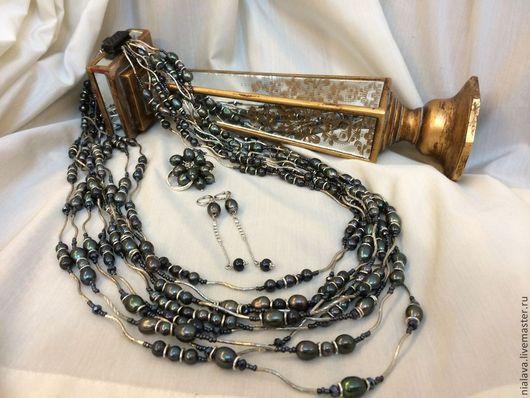 Роскошные украшения из натуральных камней и жемчуга красивые оригинальные вечерние колье жемчужные ожерелья на шею купить в Москве дизайнера Светланы Молодых