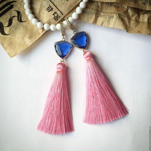 """Серьги ручной работы. Ярмарка Мастеров - ручная работа. Купить Серьги-кисточки """"Розовое небо"""". Handmade. Розовый, кисточки"""