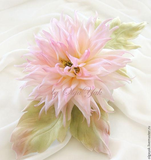 Свадебные украшения ручной работы. Ярмарка Мастеров - ручная работа. Купить СКИДКА 15% Цветы из ткани. Георгин Розовые сны. Handmade.