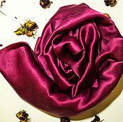 Аксессуары ручной работы. Ярмарка Мастеров - ручная работа Шарф Марсала шелк натуральный атлас батик. Handmade.