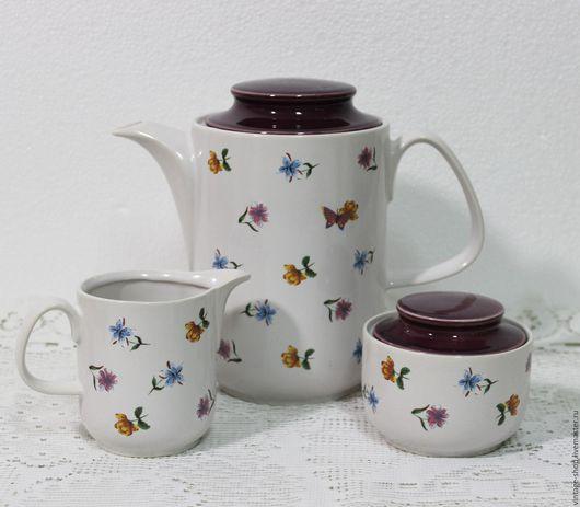 """Винтажная посуда. Ярмарка Мастеров - ручная работа. Купить Фарфоровый чайный набор GDR """"Dishwasher Safe"""" 1970-е года. Handmade."""