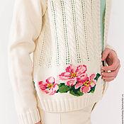 """Одежда ручной работы. Ярмарка Мастеров - ручная работа Кардиган вязаный  с косами и вышивкой """"Яблоневый цвет"""". Handmade."""