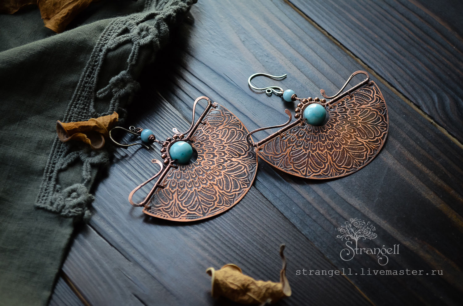 47ffcb36f Livemaster - handmade. Buy Large ethnic copper earrings with larimar.
